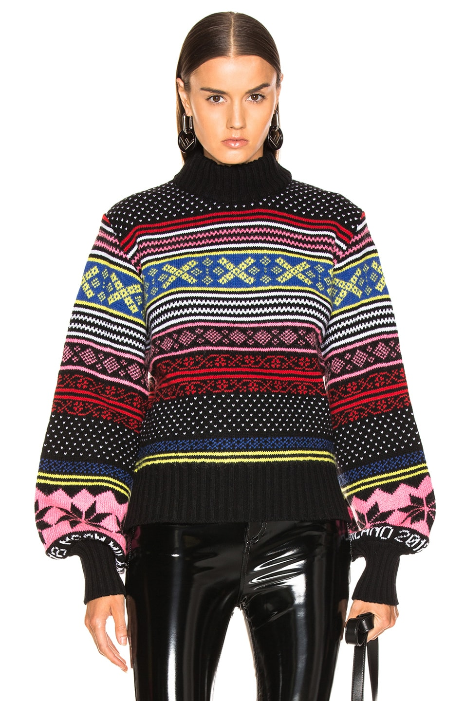 Image 1 of MSGM Cropped Sweater in Red, Pink & Yellow Multi