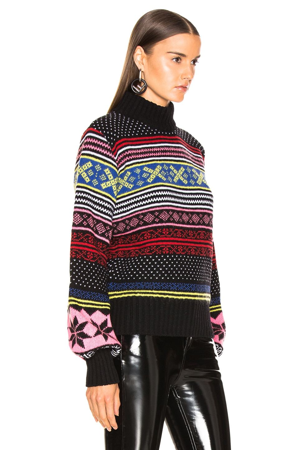 Image 2 of MSGM Cropped Sweater in Red, Pink & Yellow Multi