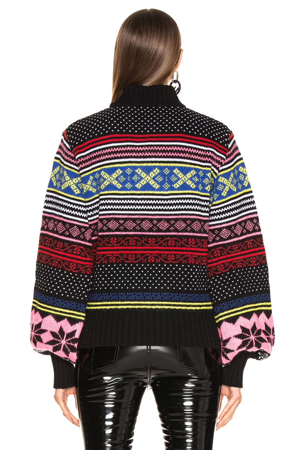 Image 3 of MSGM Cropped Sweater in Red, Pink & Yellow Multi