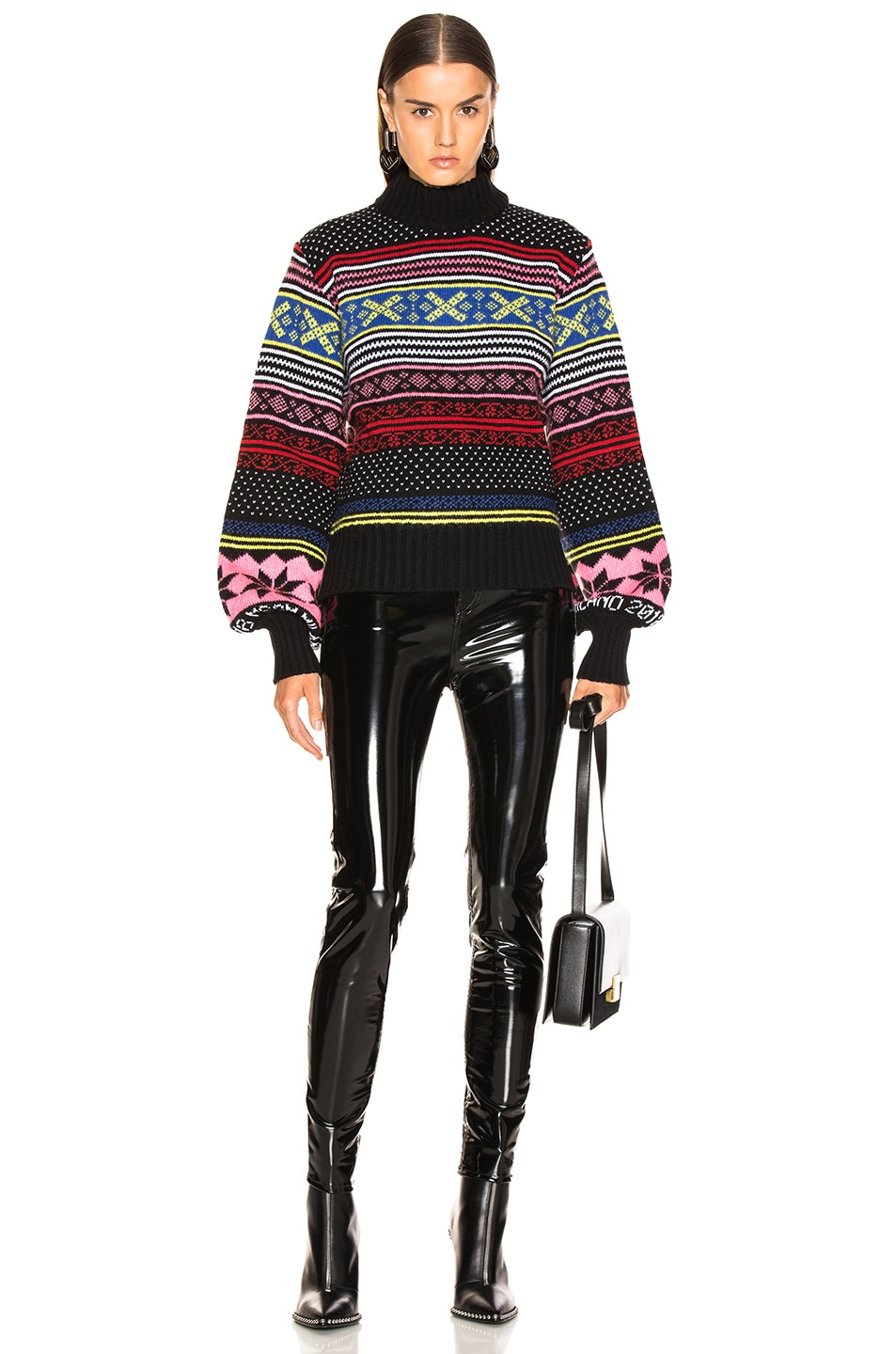 Image 4 of MSGM Cropped Sweater in Red, Pink & Yellow Multi