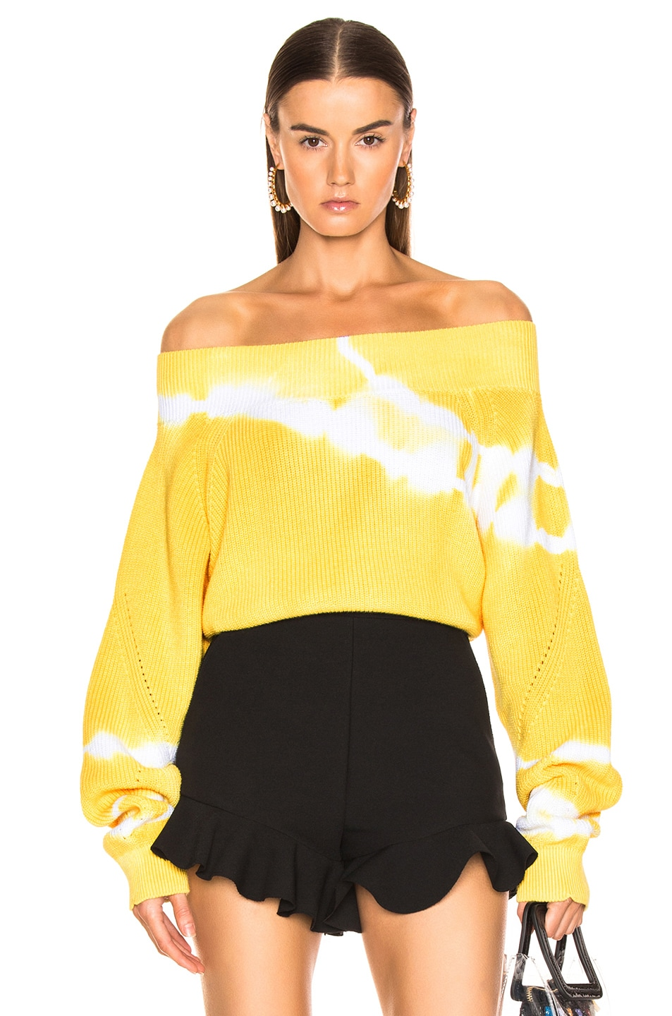 Image 1 of MSGM Marina Tie Dye Off Shoulder Sweater in Yellow
