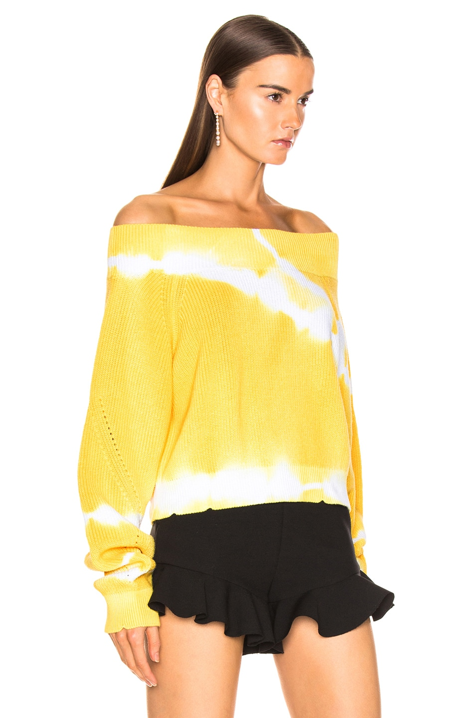 Image 2 of MSGM Marina Tie Dye Off Shoulder Sweater in Yellow