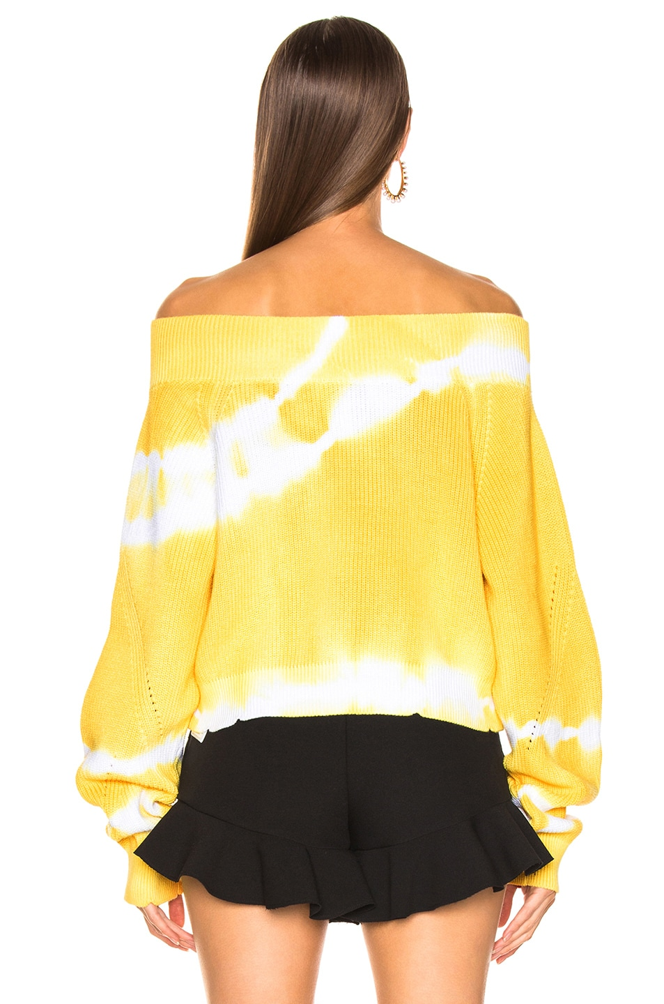 Image 3 of MSGM Marina Tie Dye Off Shoulder Sweater in Yellow