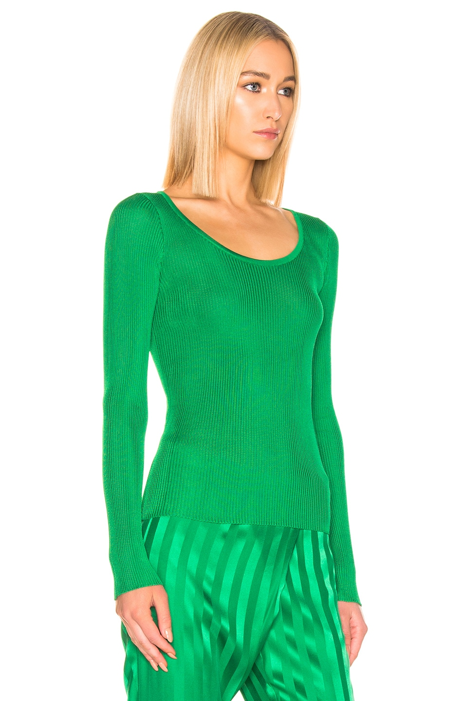 Image 2 of MSGM Long Sleeve Pullover in Green