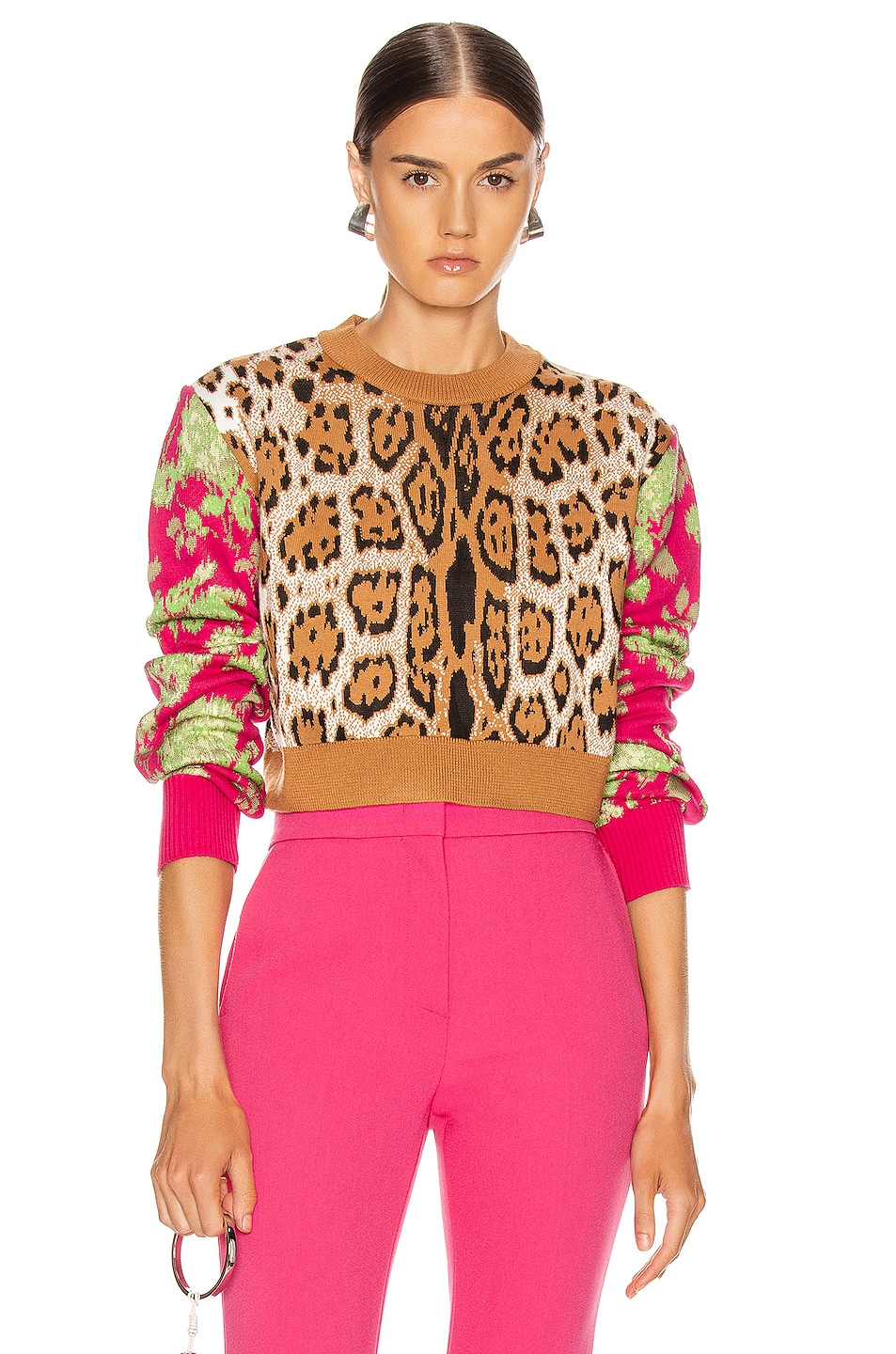 Image 1 of MSGM Leopard Floral Sweater in Camel