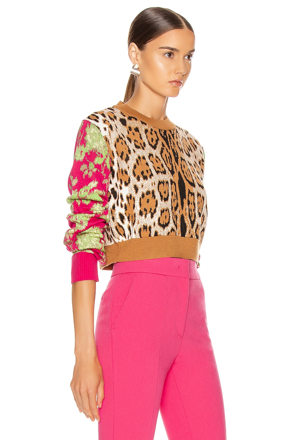 Image 2 of MSGM Leopard Floral Sweater in Camel