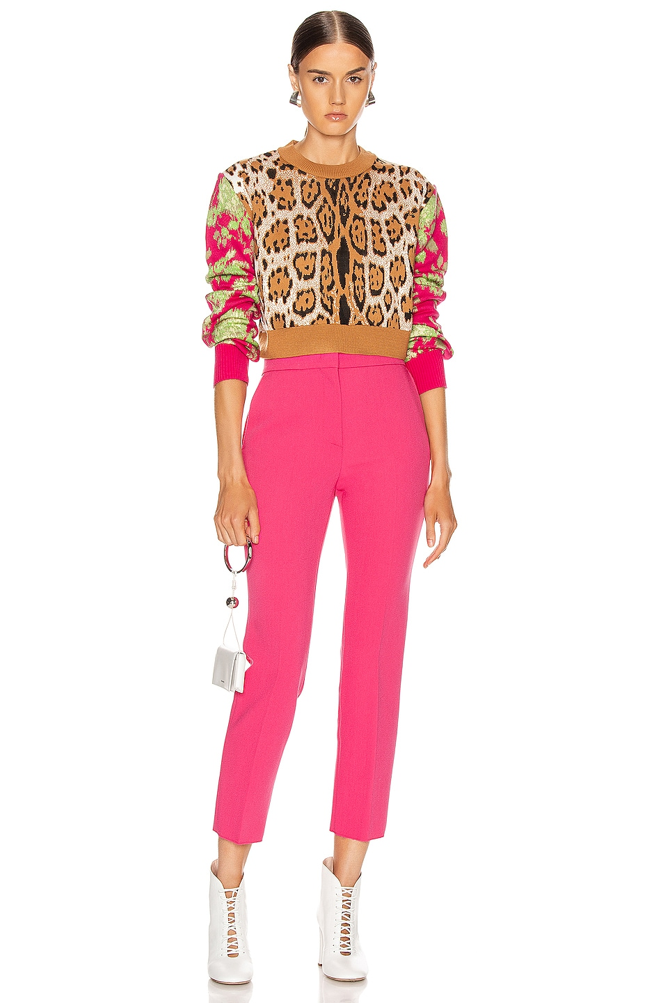 Image 4 of MSGM Leopard Floral Sweater in Camel