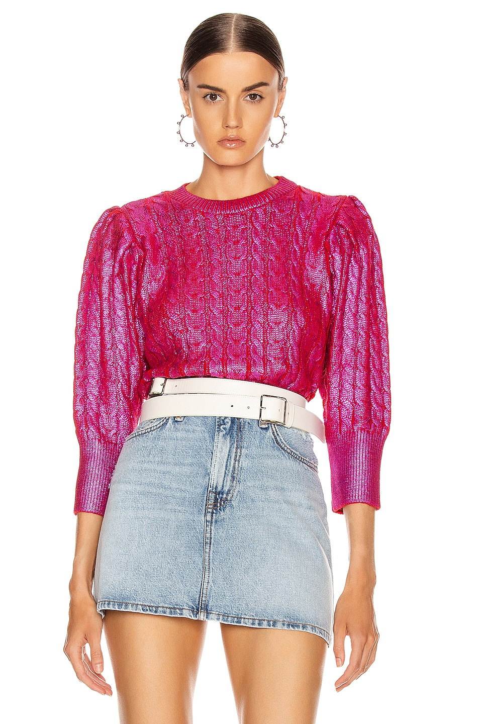 Image 1 of MSGM Metallic Cable Knit Sweater in Fuchsia & Red