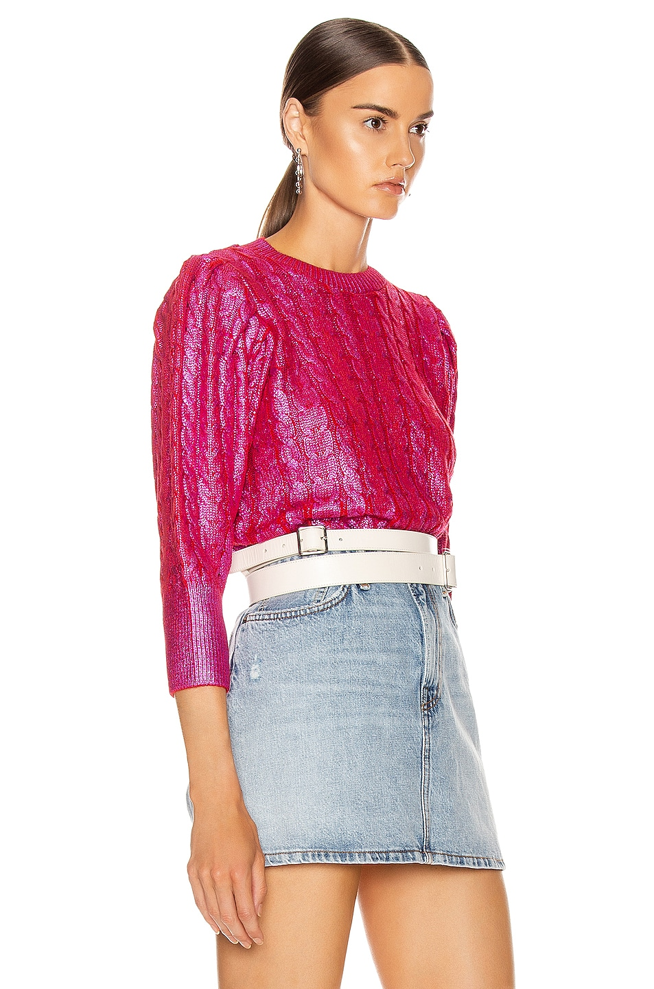 Image 2 of MSGM Metallic Cable Knit Sweater in Fuchsia & Red