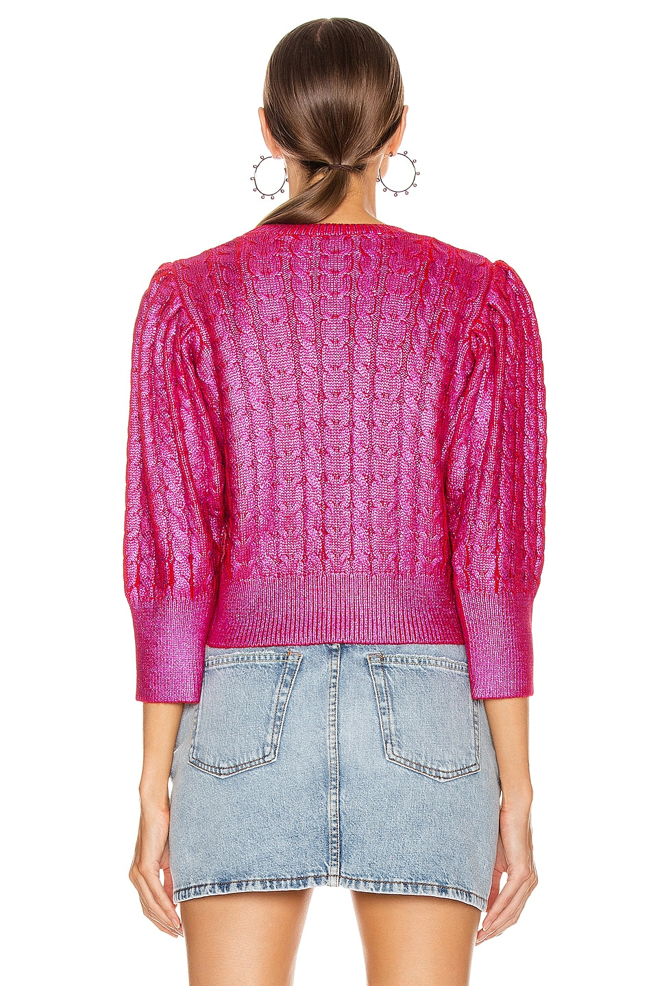 Image 3 of MSGM Metallic Cable Knit Sweater in Fuchsia & Red