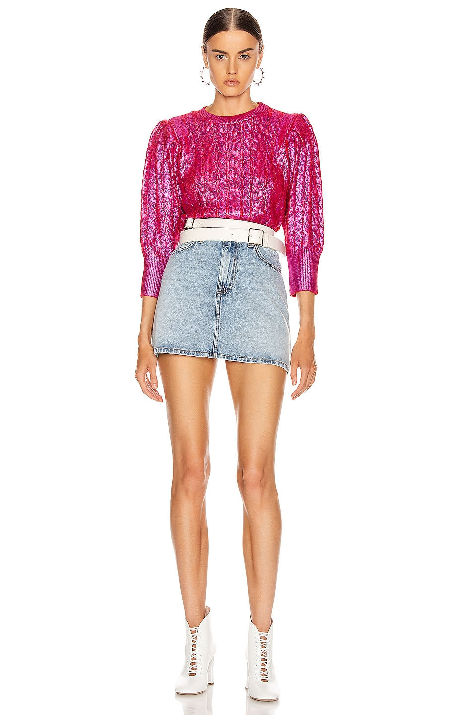 Image 4 of MSGM Metallic Cable Knit Sweater in Fuchsia & Red