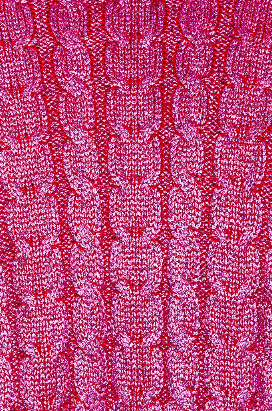 Image 5 of MSGM Metallic Cable Knit Sweater in Fuchsia & Red