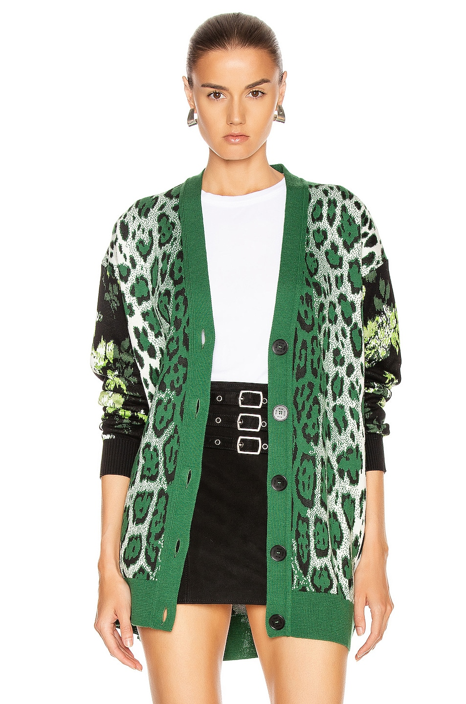 Image 1 of MSGM Leopard Floral Sweater in Green