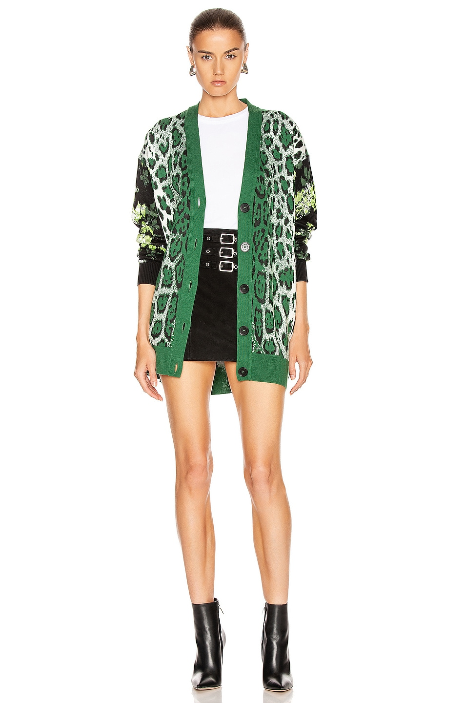 Image 5 of MSGM Leopard Floral Sweater in Green