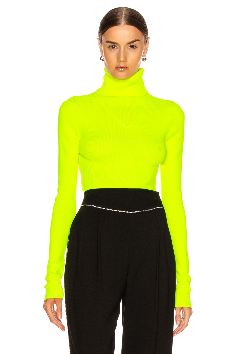 Image 1 of MSGM Turtleneck Sweater in Yellow Fluo