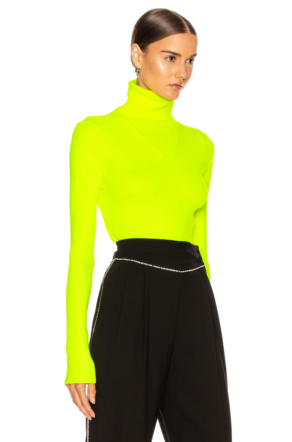 Image 2 of MSGM Turtleneck Sweater in Yellow Fluo