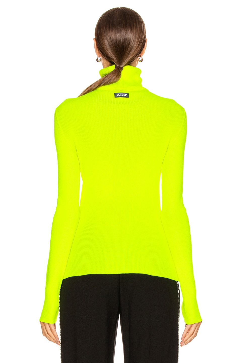 Image 3 of MSGM Turtleneck Sweater in Yellow Fluo