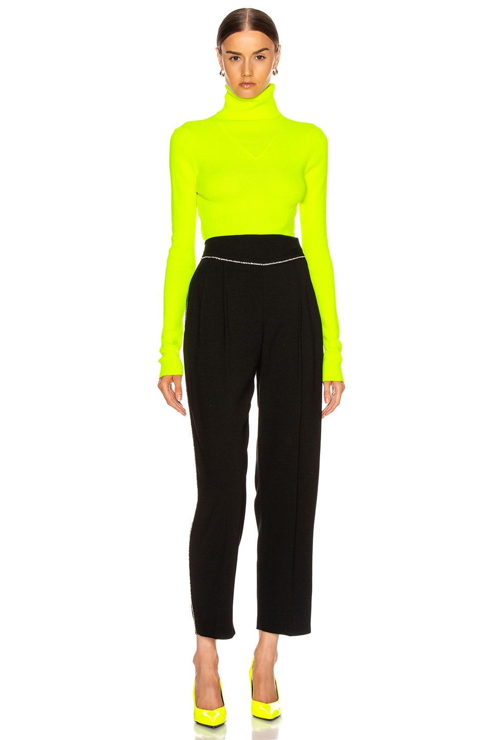 Image 4 of MSGM Turtleneck Sweater in Yellow Fluo