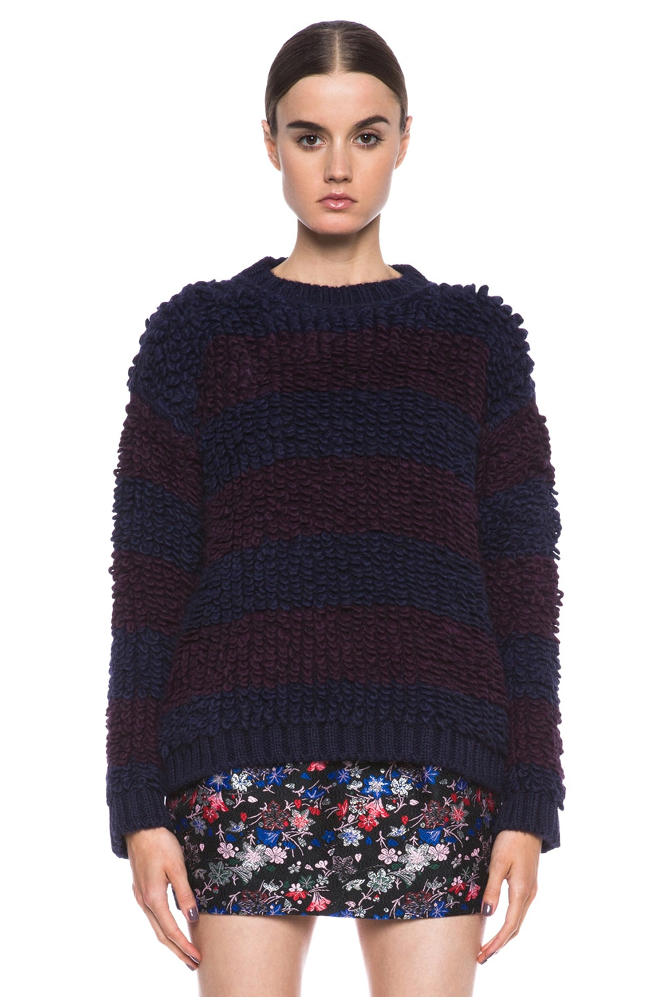 Image 1 of MSGM Knit Sweater in Blue Stripe