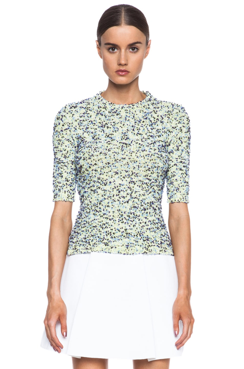 Image 1 of MSGM Pom Pom Textured Knit Sweater in Blue