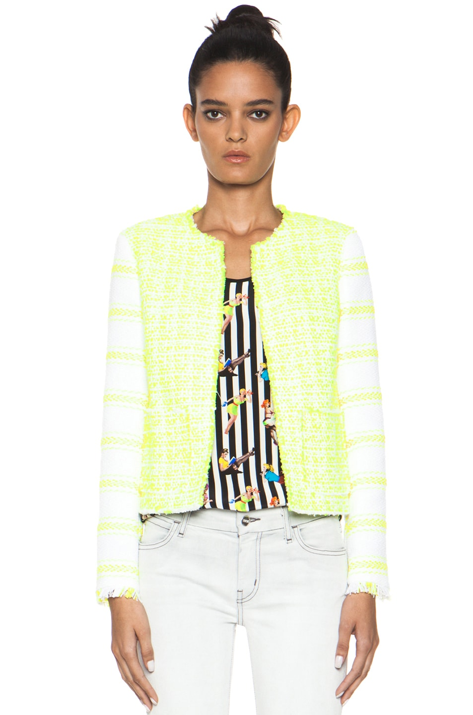 Image 1 of MSGM Striped Jacket in Yellow