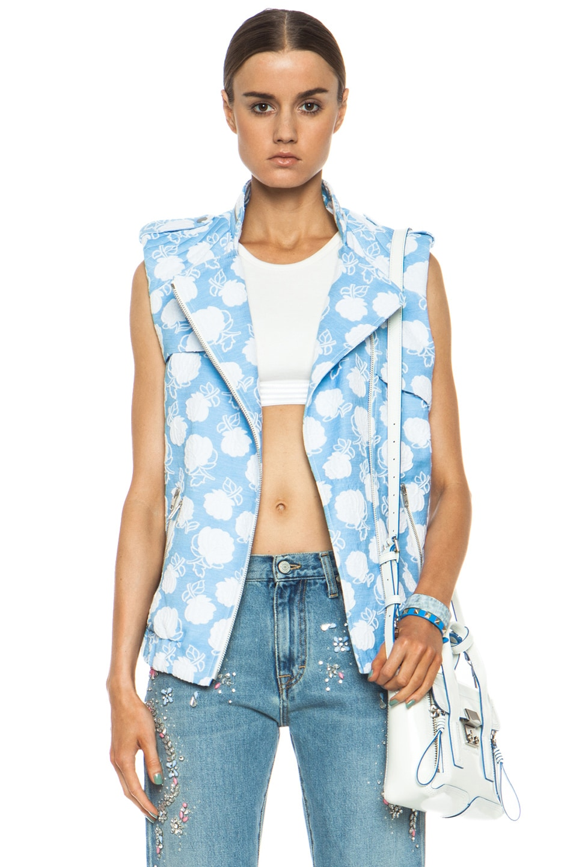 Image 1 of MSGM Floral Cotton-Blend Moto Vest in Powder Blue