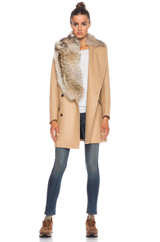 Image 1 of MSGM Fur Collared Coat in Camel
