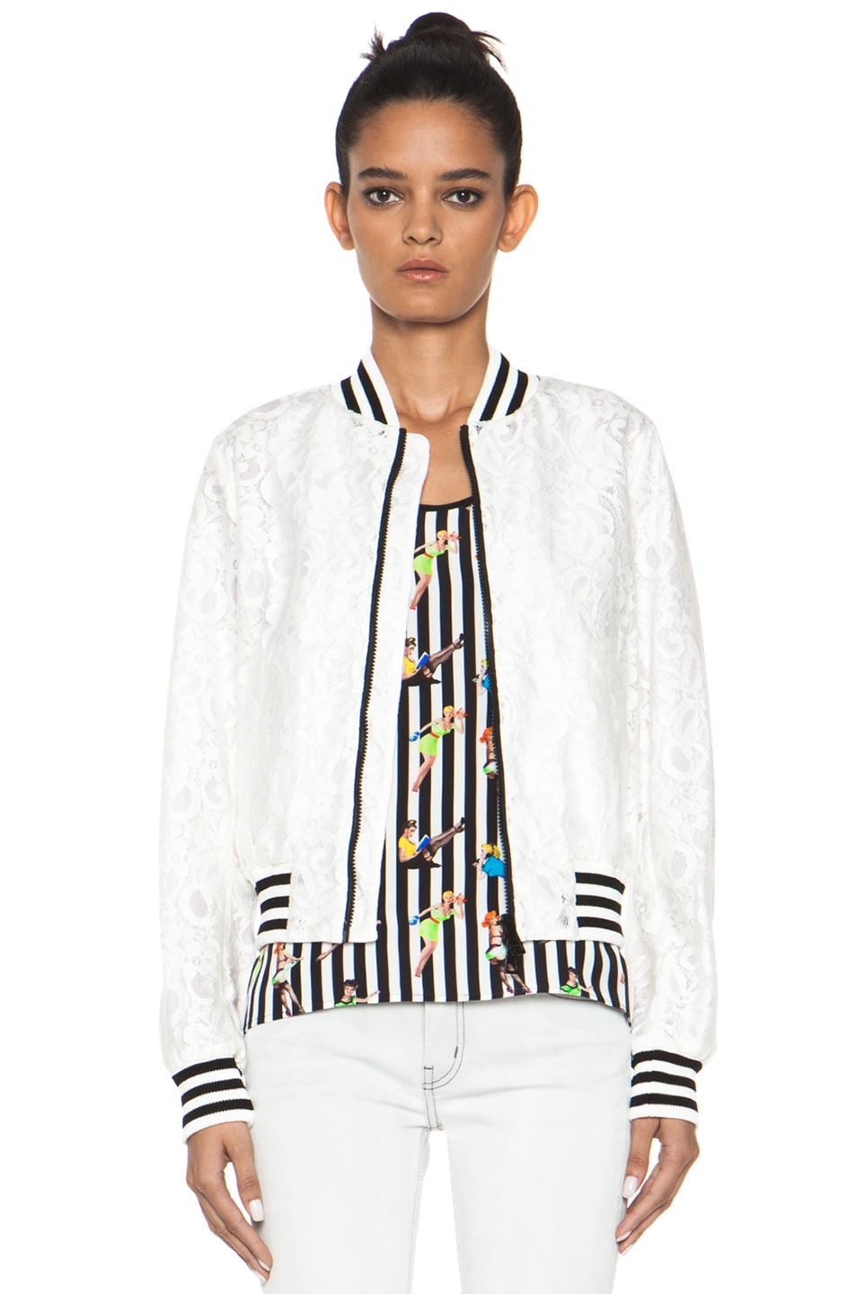 Image 1 of MSGM Lace Bomber Jacket in White