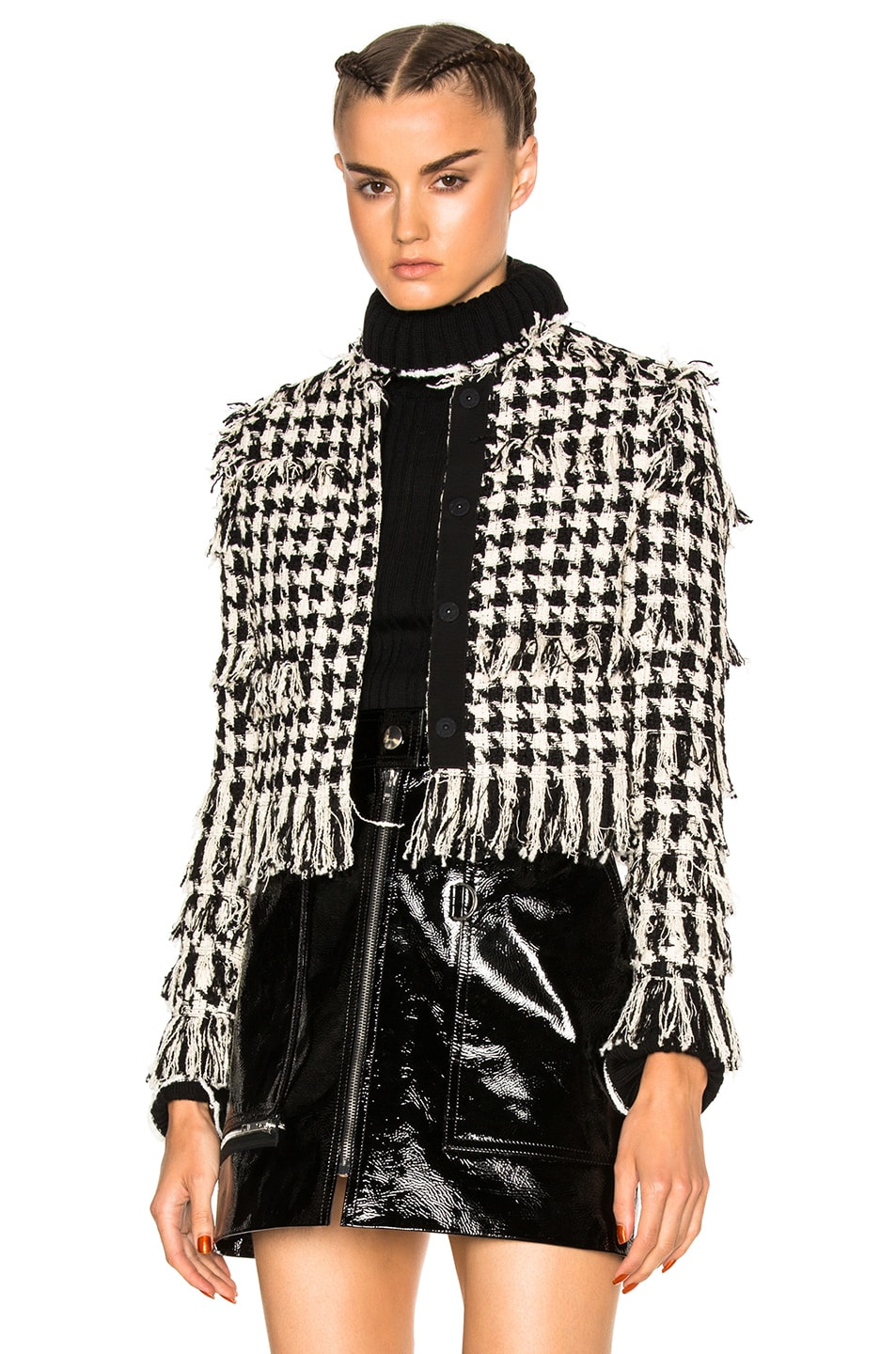 Image 1 of MSGM Tweed Jacket in Black & White