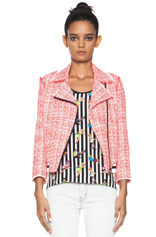 Image 1 of MSGM Tweed Athletic Moto Jacket in Hot Pink