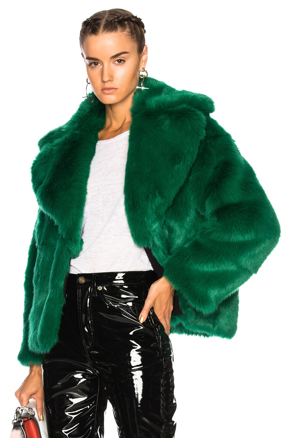 Image 1 of MSGM Faux Fur Jacket in Green