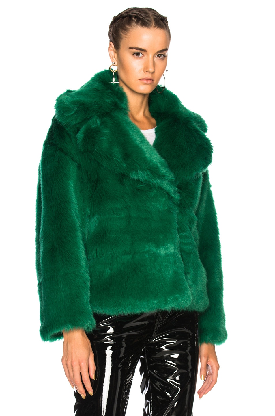 Image 2 of MSGM Faux Fur Jacket in Green