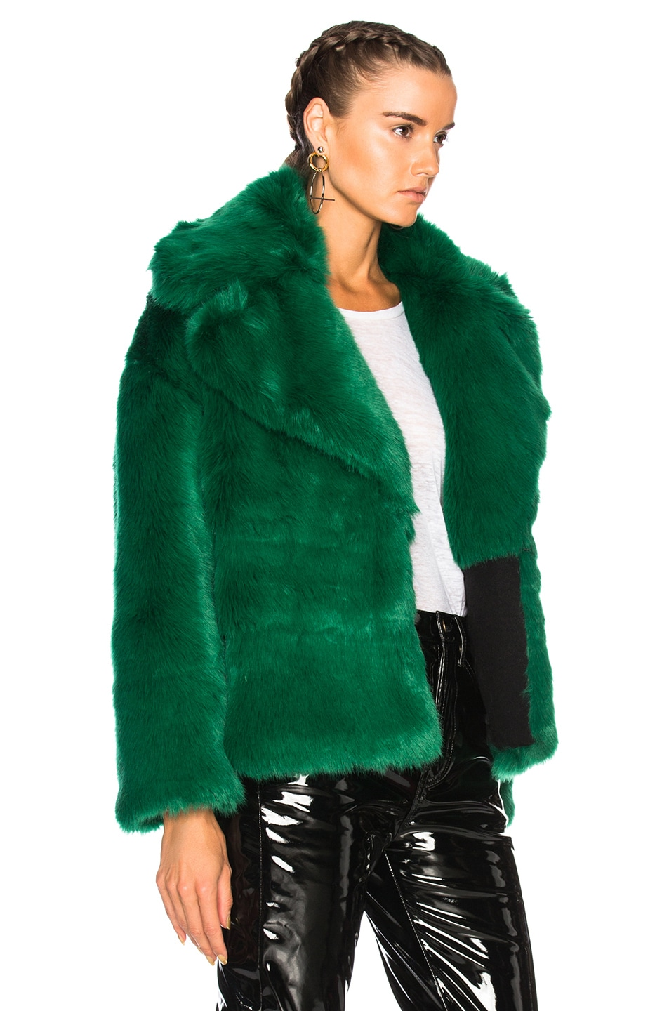 Image 3 of MSGM Faux Fur Jacket in Green