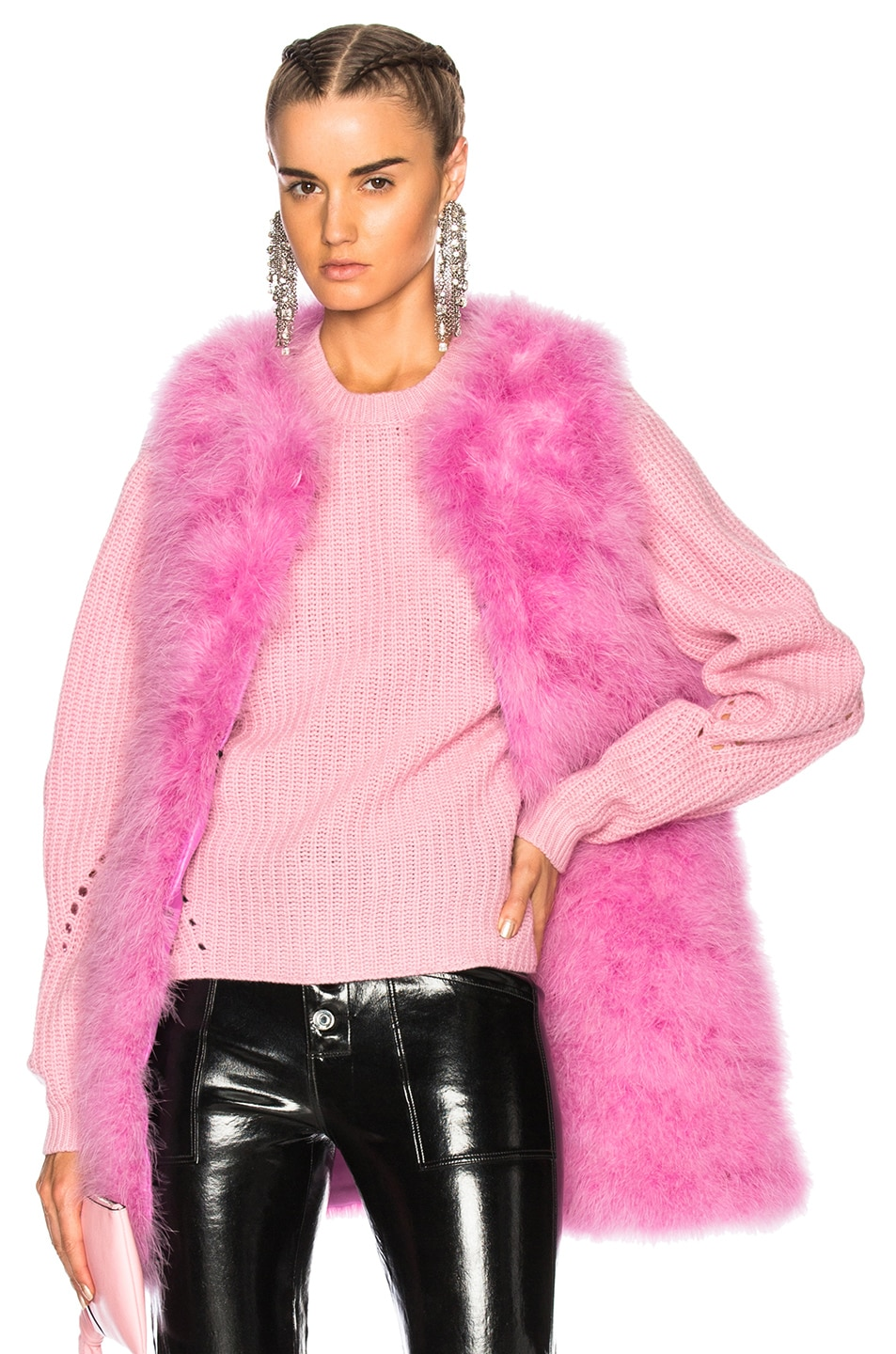 Image 1 of MSGM Ostrich Feather Coat in Pink