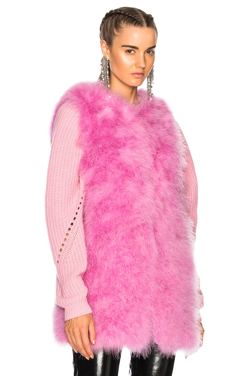 Image 2 of MSGM Ostrich Feather Coat in Pink
