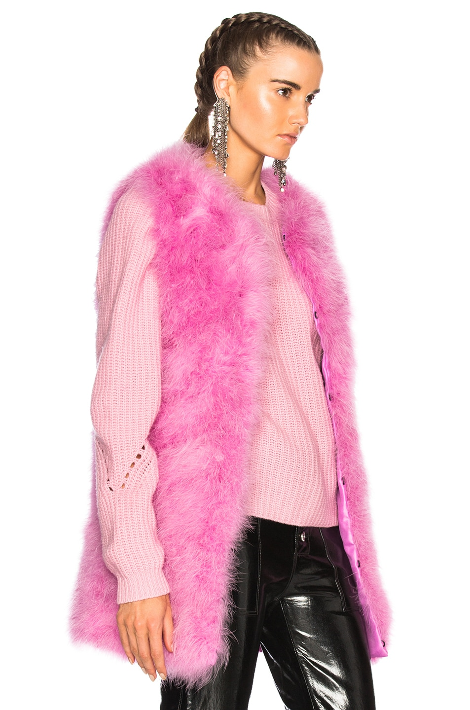 Image 3 of MSGM Ostrich Feather Coat in Pink