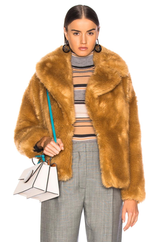 Image 1 of MSGM Faux Fur Coat in Brown