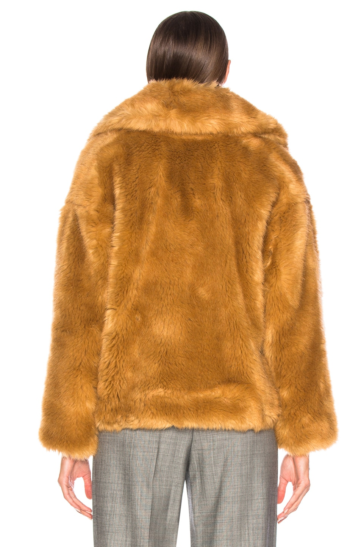 Image 4 of MSGM Faux Fur Coat in Brown
