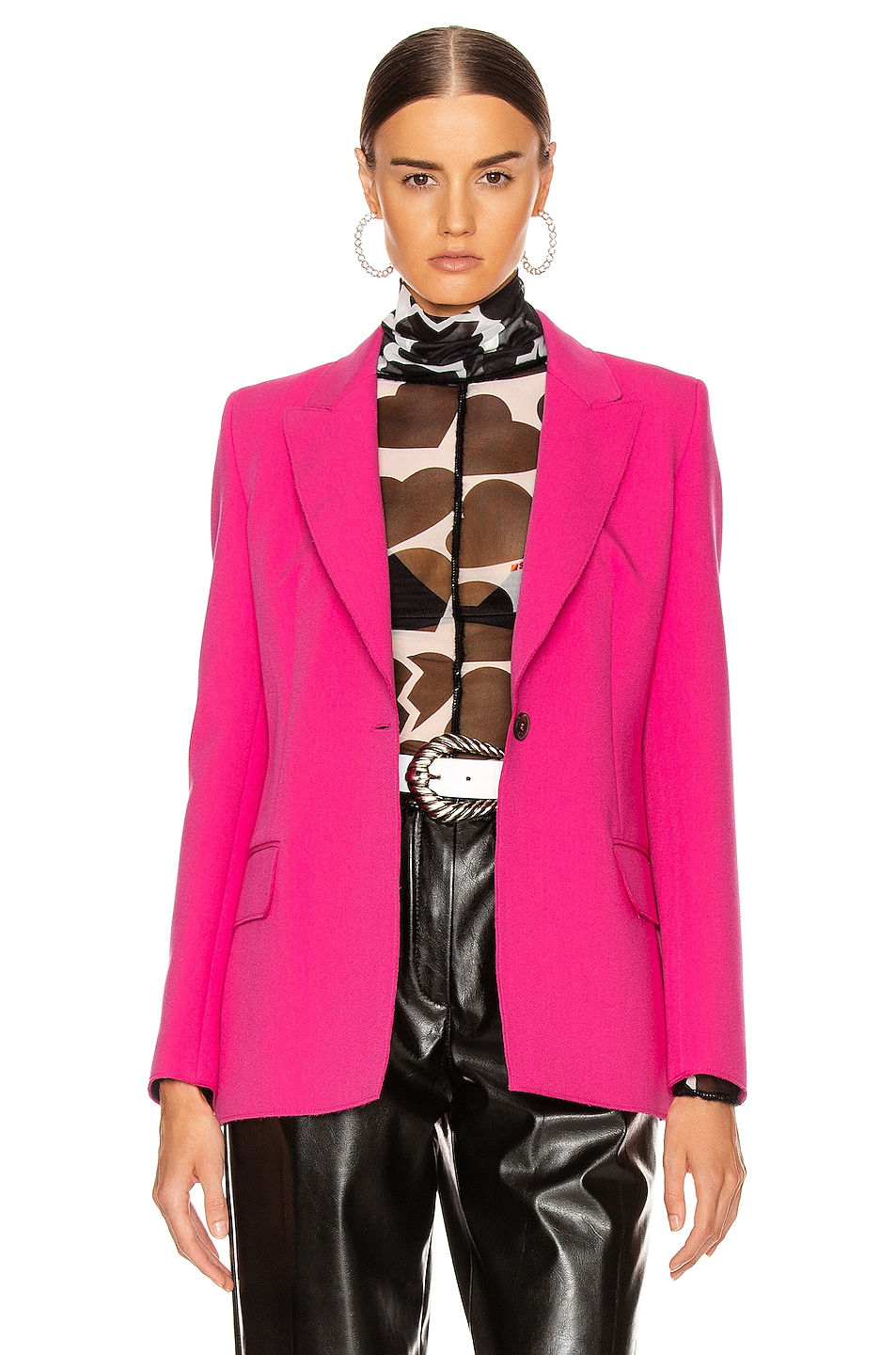 Image 2 of MSGM Blazer Jacket in Fuchsia