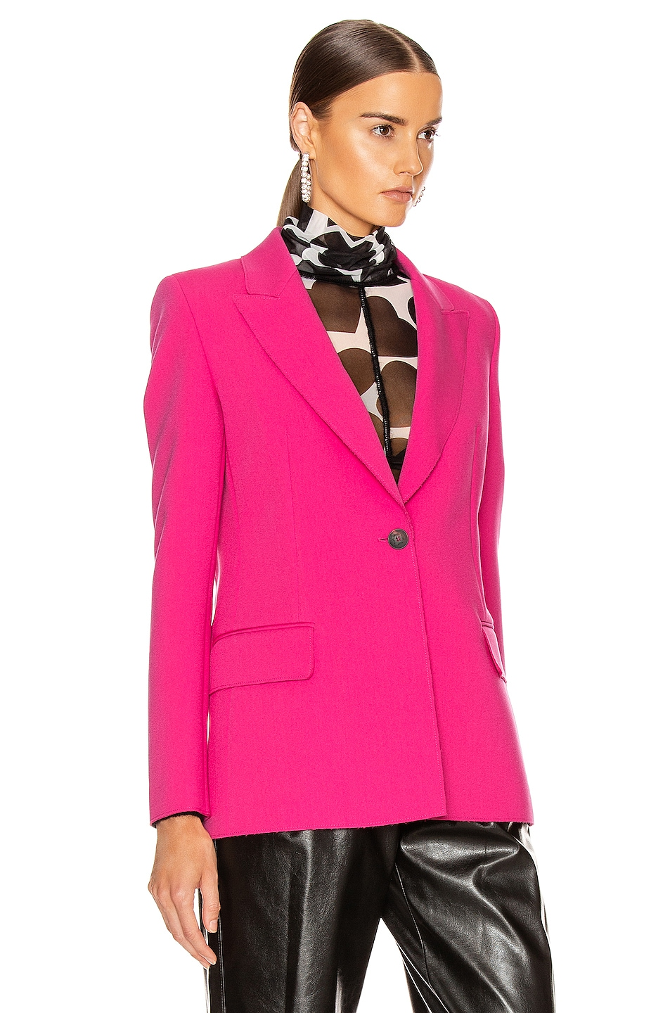 Image 3 of MSGM Blazer Jacket in Fuchsia