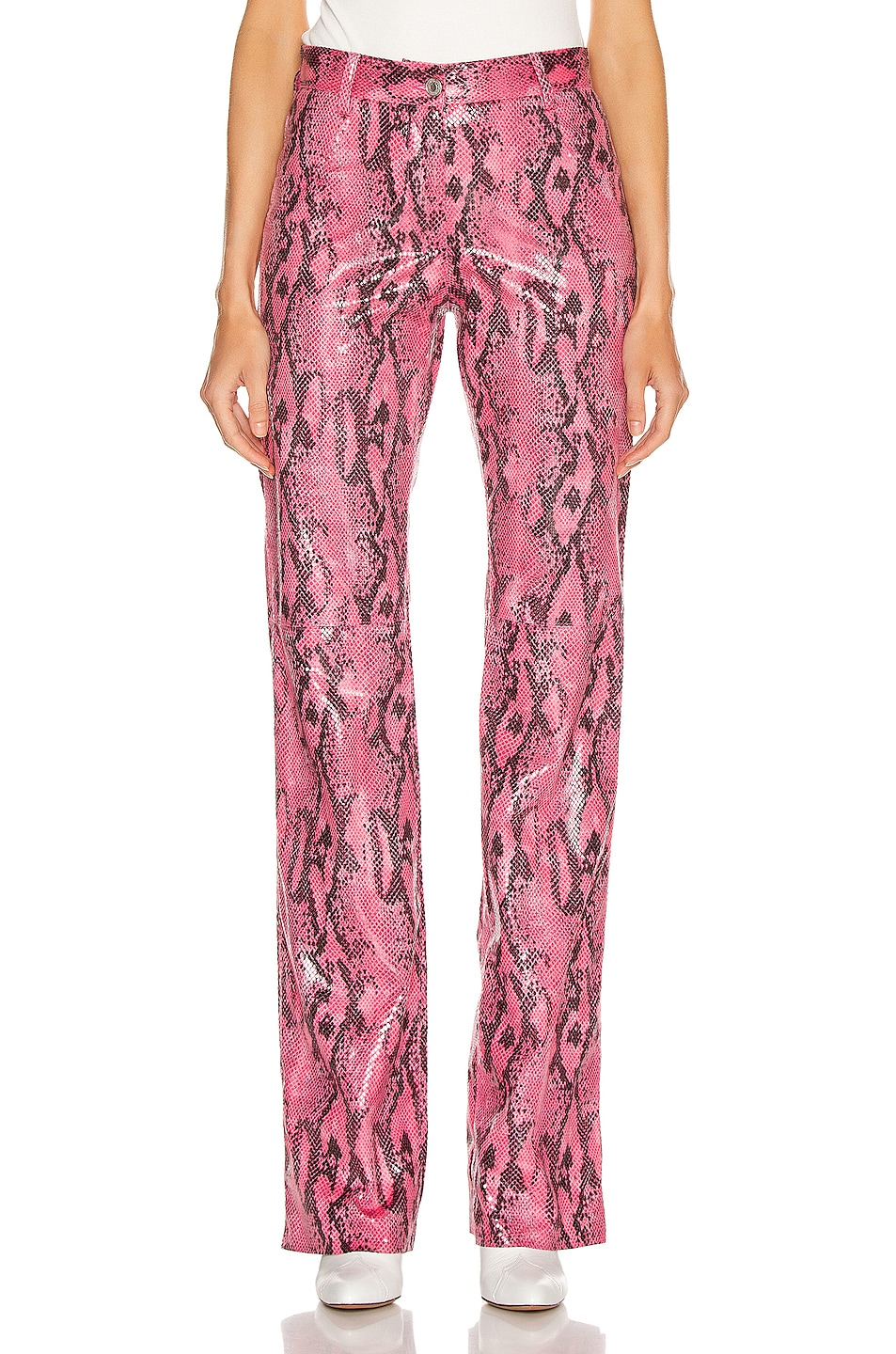 Image 1 of MSGM Snake Print Pant in Fuchsia