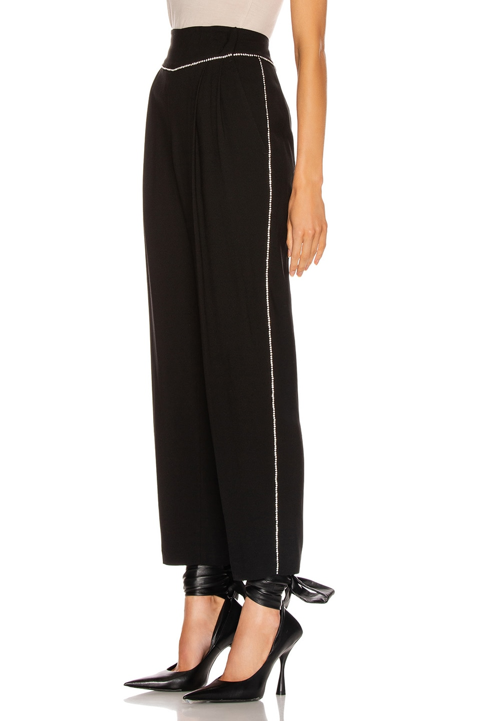 Image 1 of MSGM Crystal Trimmed Trouser in Black