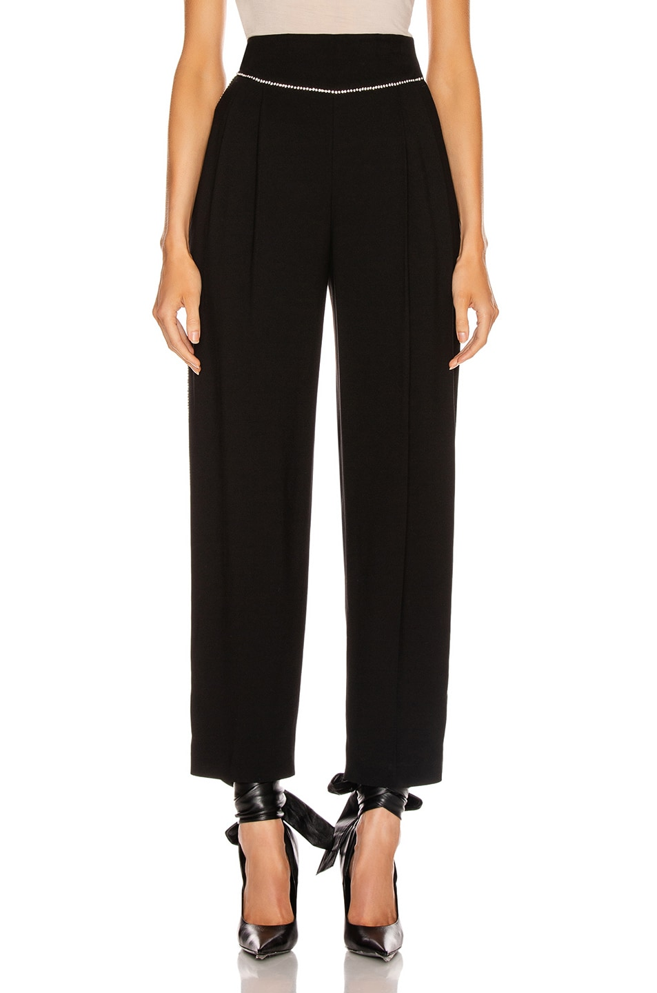 Image 2 of MSGM Crystal Trimmed Trouser in Black