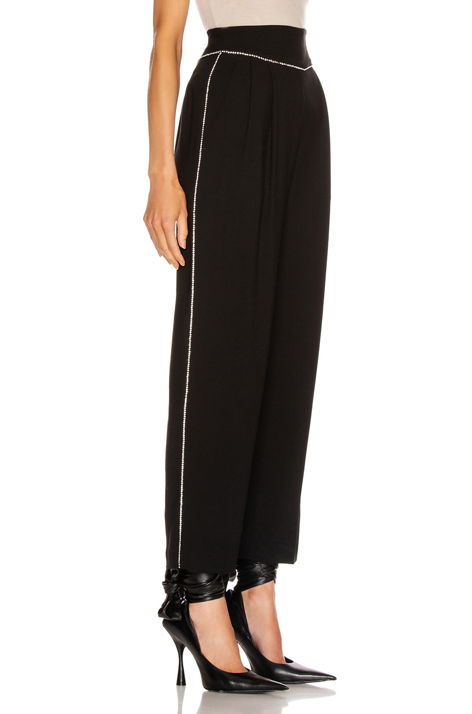 Image 3 of MSGM Crystal Trimmed Trouser in Black