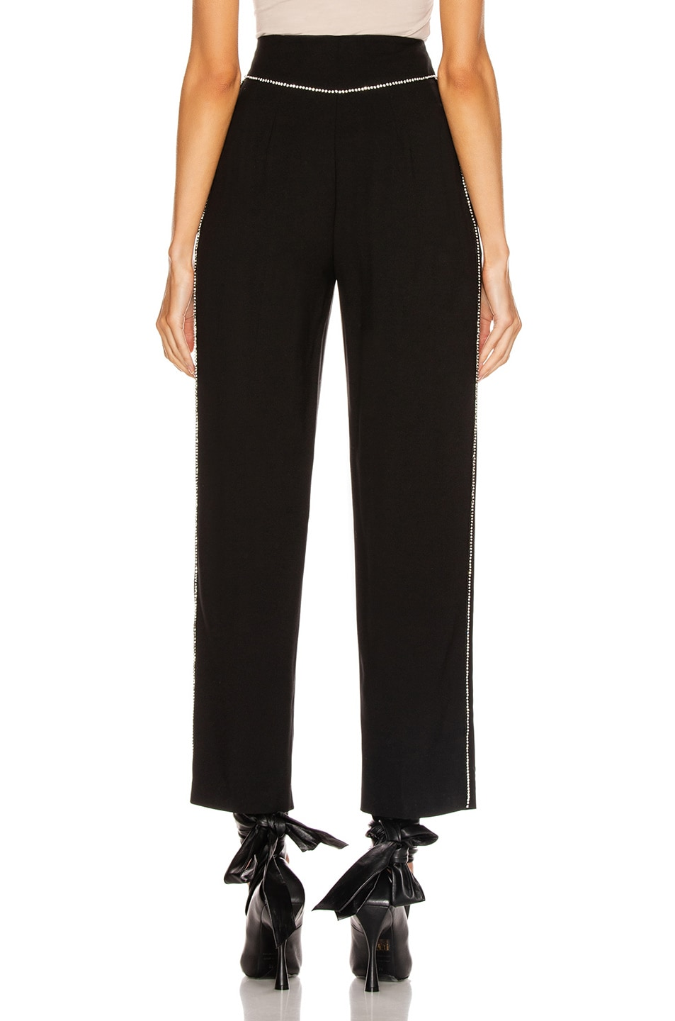 Image 4 of MSGM Crystal Trimmed Trouser in Black