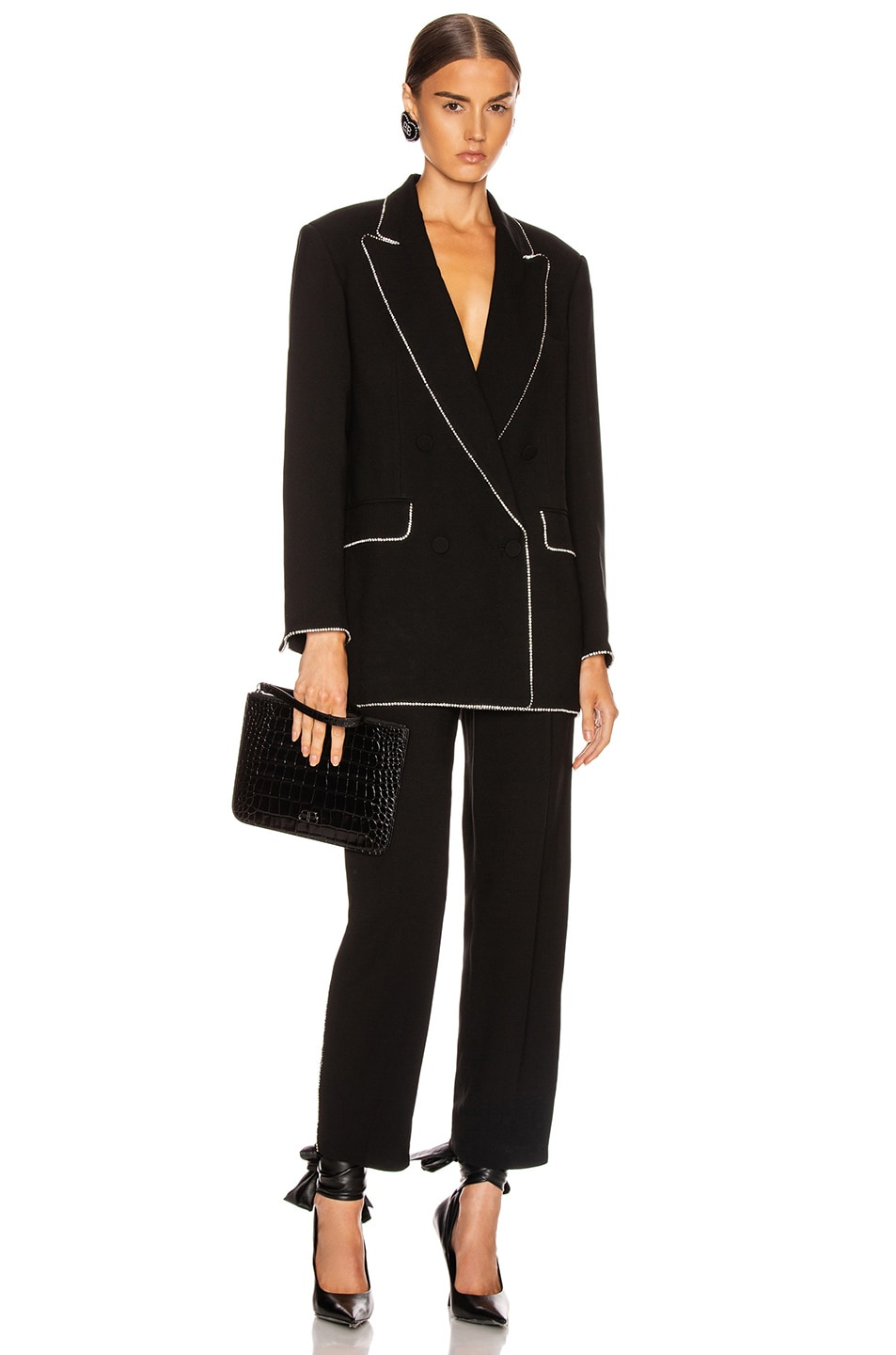 Image 5 of MSGM Crystal Trimmed Trouser in Black