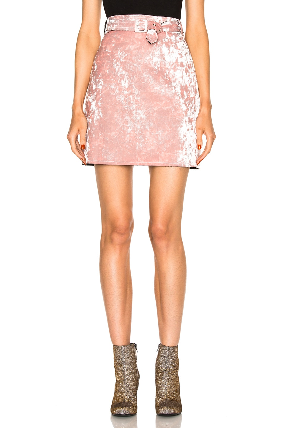 Image 1 of MSGM Velvet Skirt in Blush
