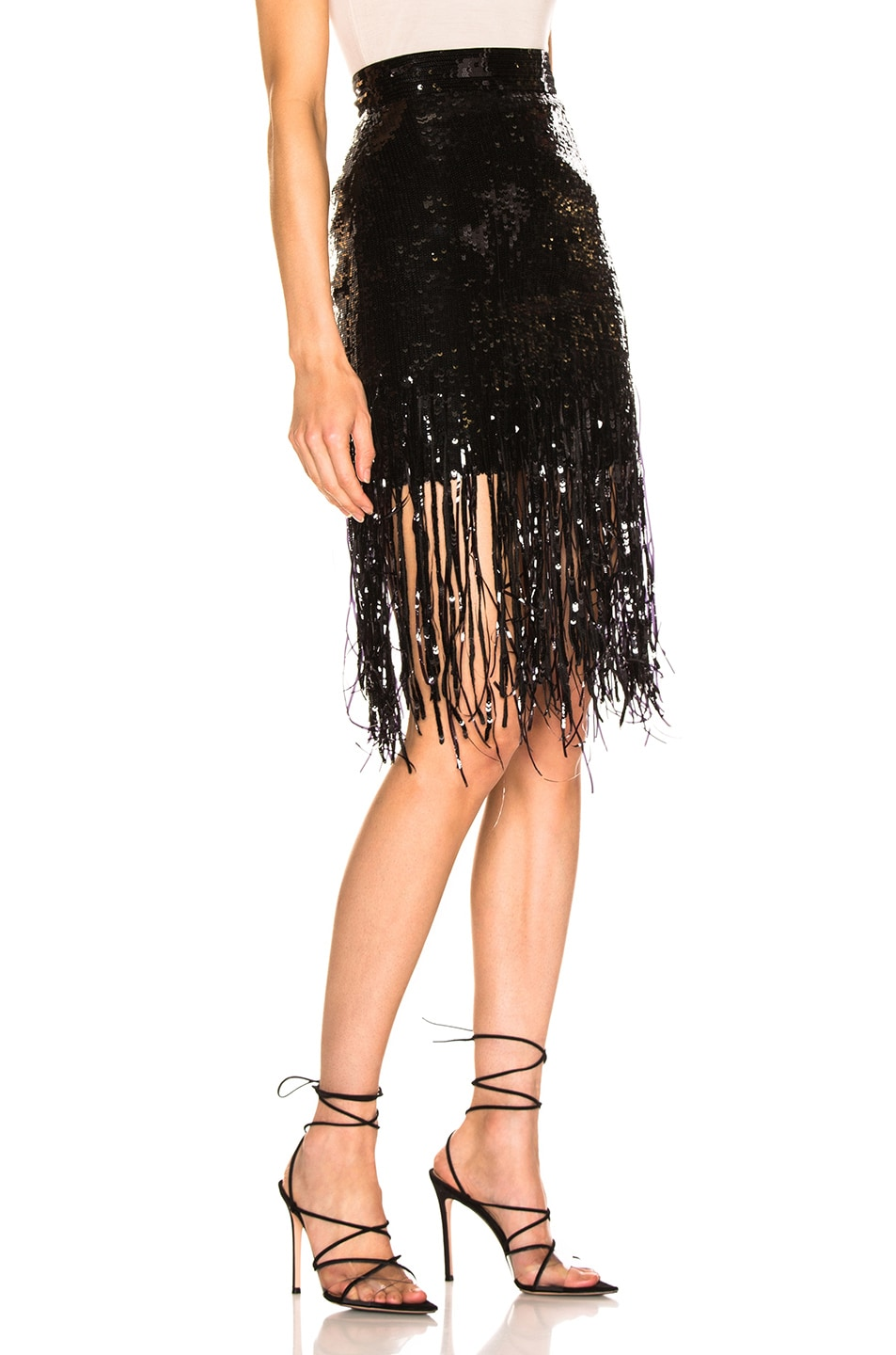 Image 2 of MSGM Sequined Fringe Skirt in Black