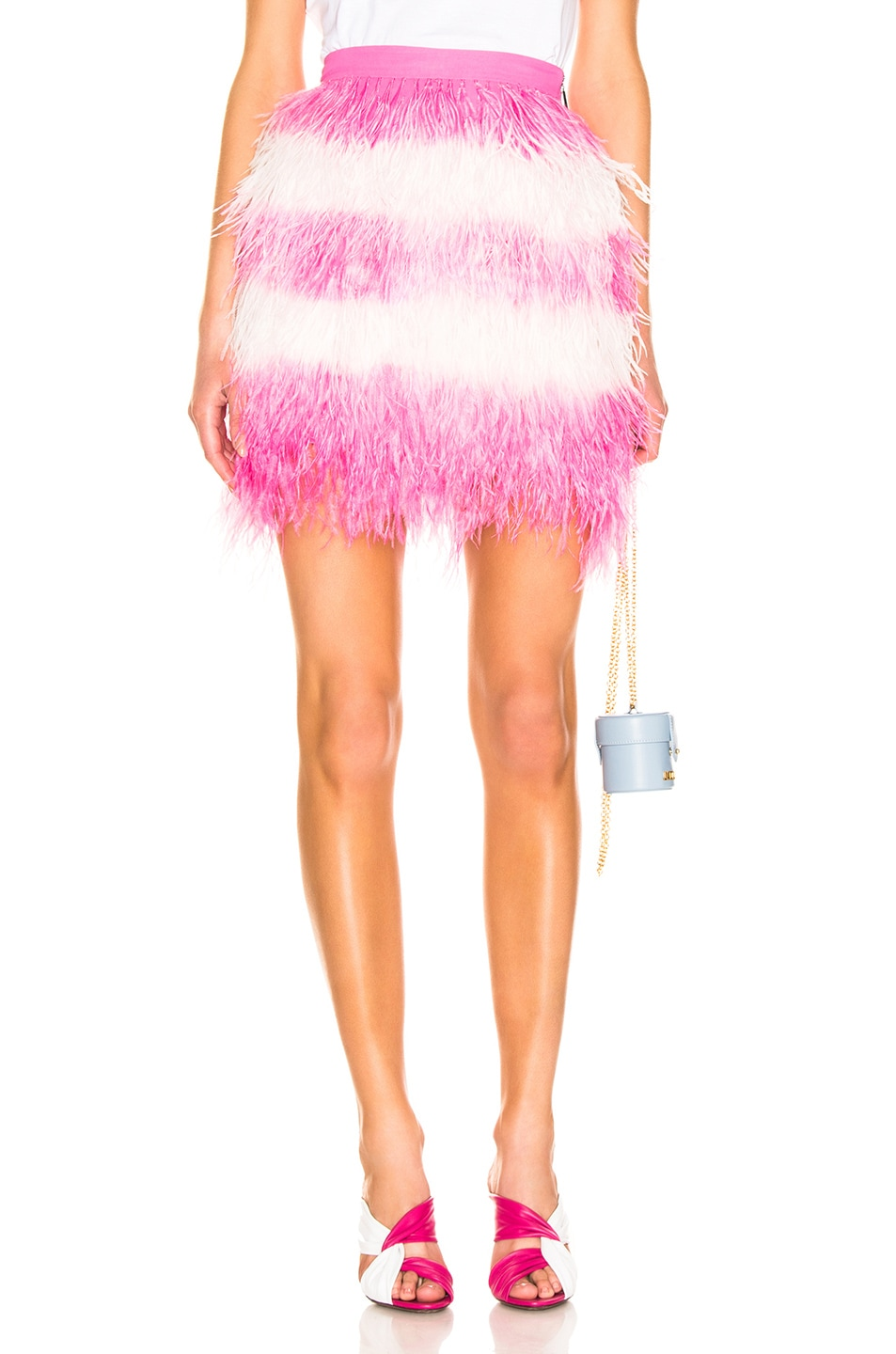 Image 1 of MSGM Feather Skirt in Pink