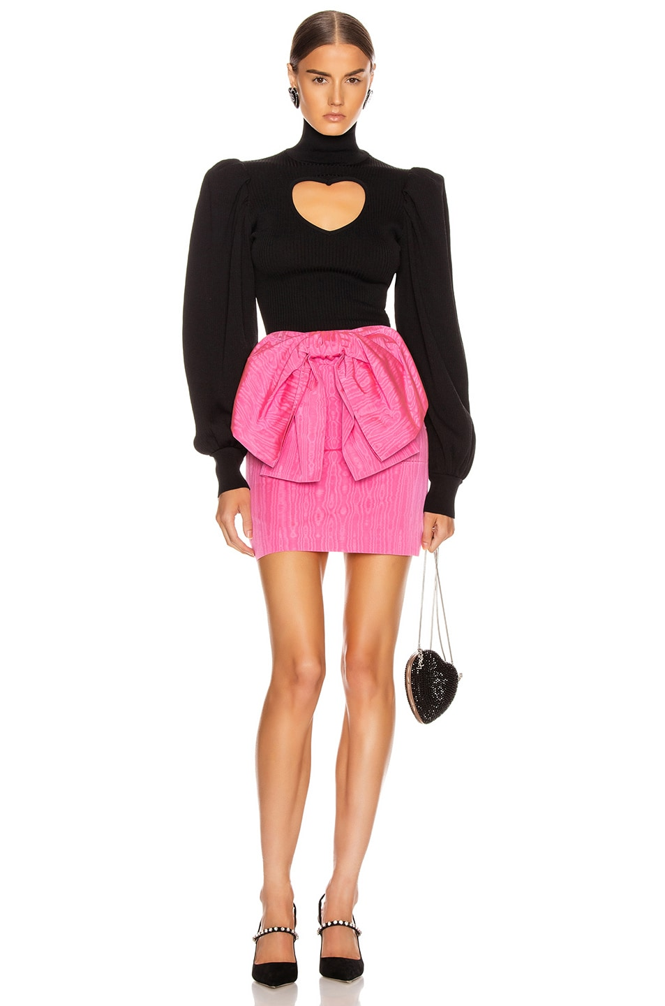 Image 4 of MSGM Bow Mini Skirt in Fuchsia